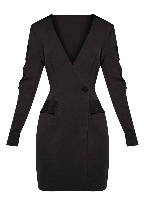 Sabella Black Applique Detail Blazer Dress 3