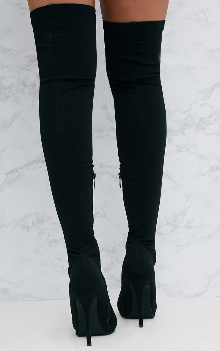 Black Thigh High Lace Up Heeled Sock Boots 4