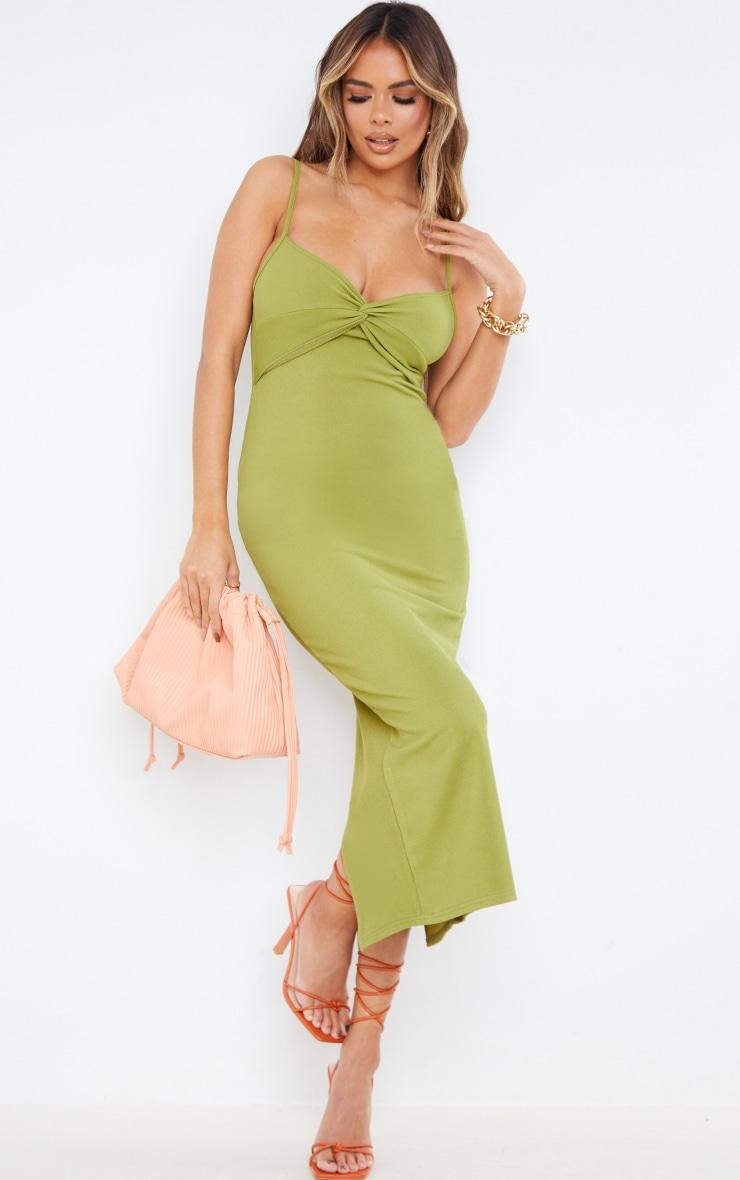 Olive Rib Twist Front Detail Strappy Midaxi Dress 1