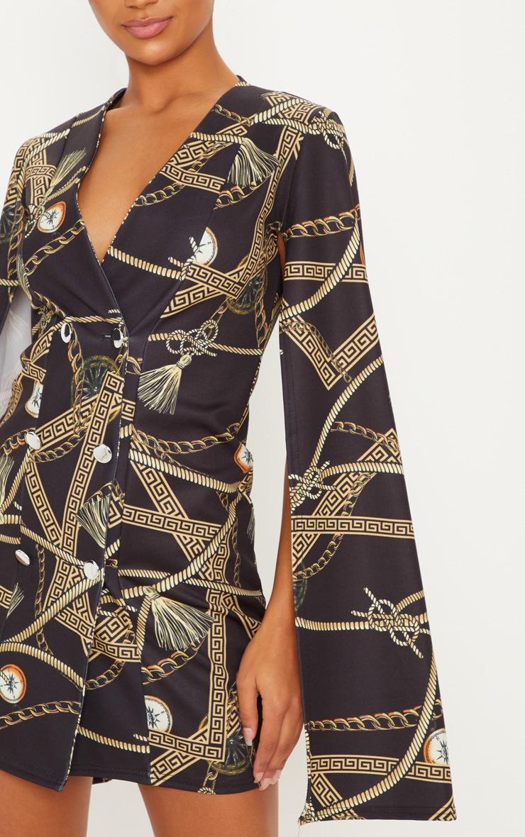 09d2fd083bd26f Black Rope Chain Print Cape Sleeve Blazer Dress image 5