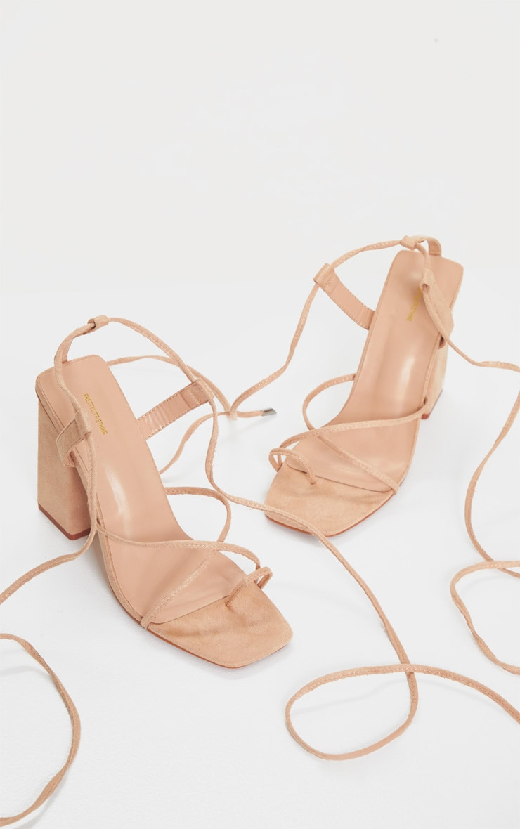 Nude Chunky Block Heel Strappy Ankle Tie Sandals 3