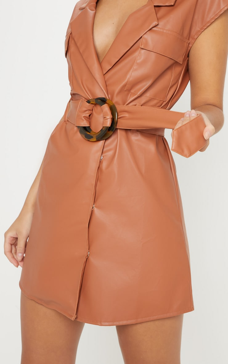 Camel Faux Leather Utility Blazer Dress 5