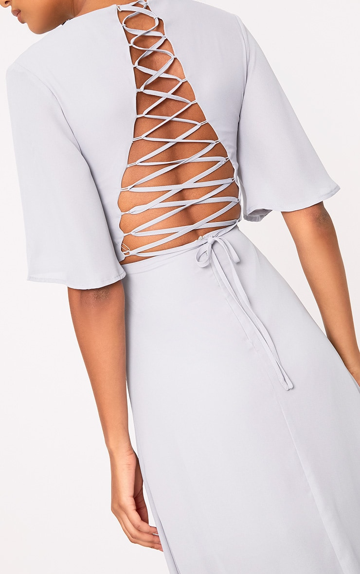 Lucilla Ice Grey Lace Up Detail Maxi Dress 5