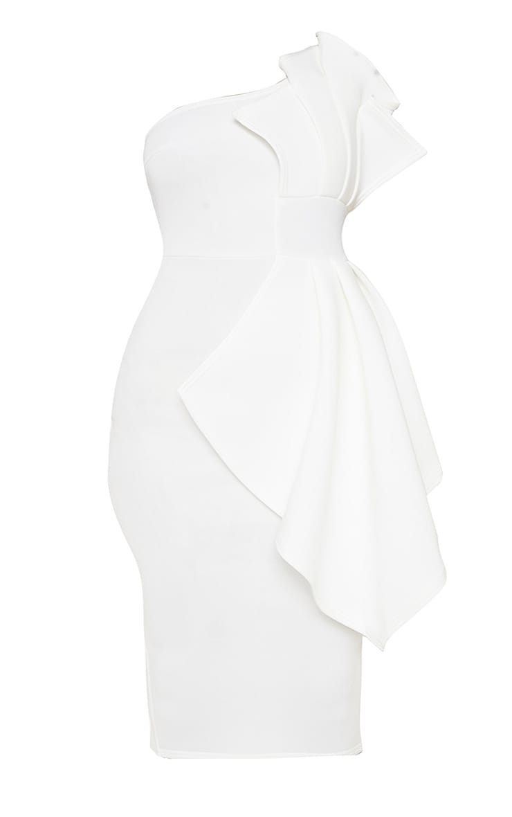 Plus White One Shoulder Pleated Detail Midi Dress 3