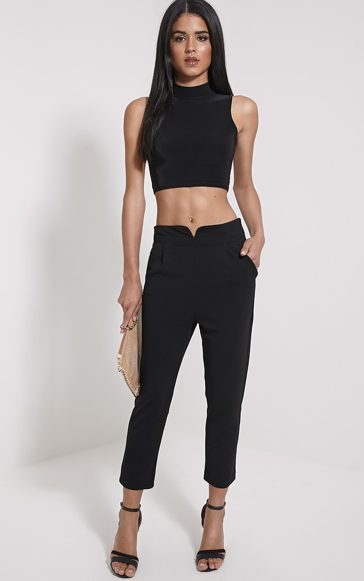Neri Black Notch Front Trousers 1