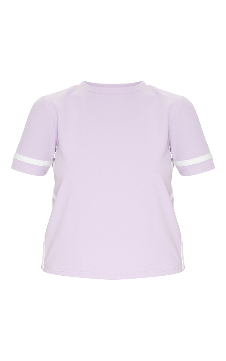 Lilac Stripe Detail T Shirt 5