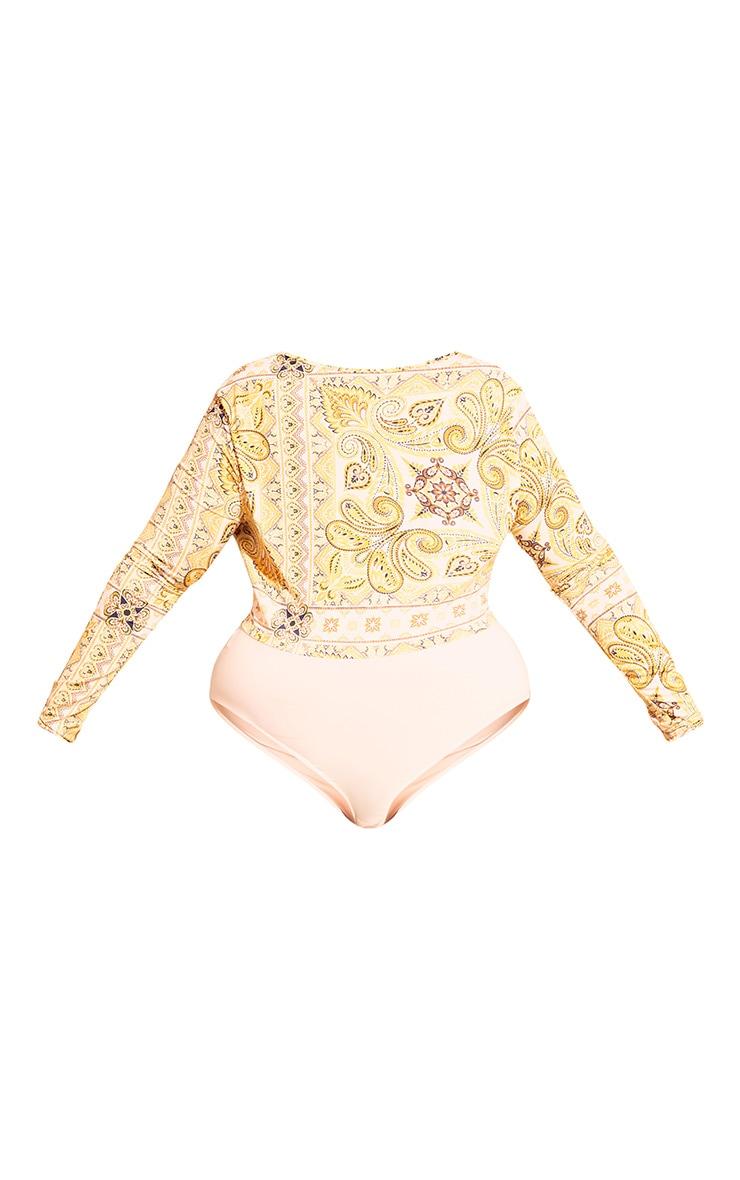 Plus Yellow Tile Print Cowl Neck Bodysuit 4