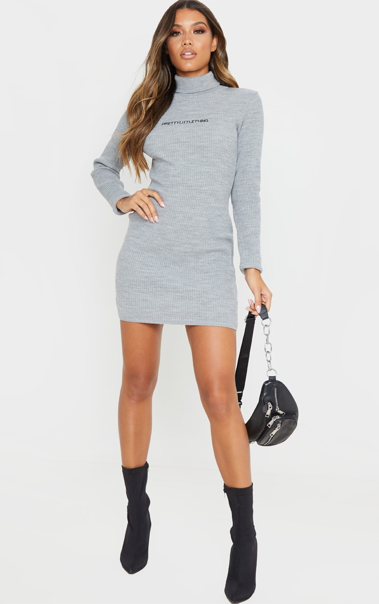 PRETTYLITTLETHING Grey Rib Knitted Bodycon Dress 4