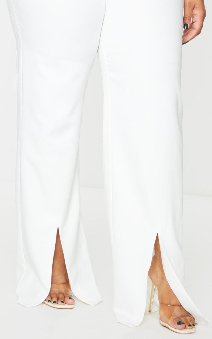 Plus White Split Hem Pants 4