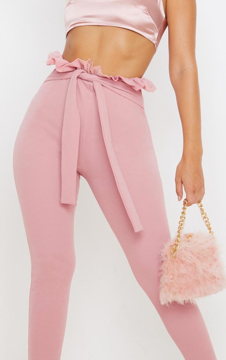 Dusty Pink Paperbag Skinny Pants  5