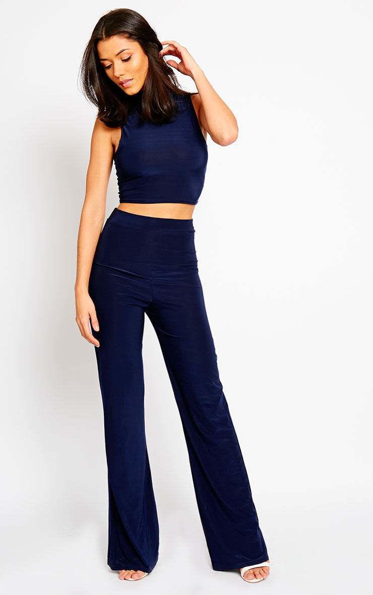 Remi Navy Soft Touch Wide Leg Trousers 1