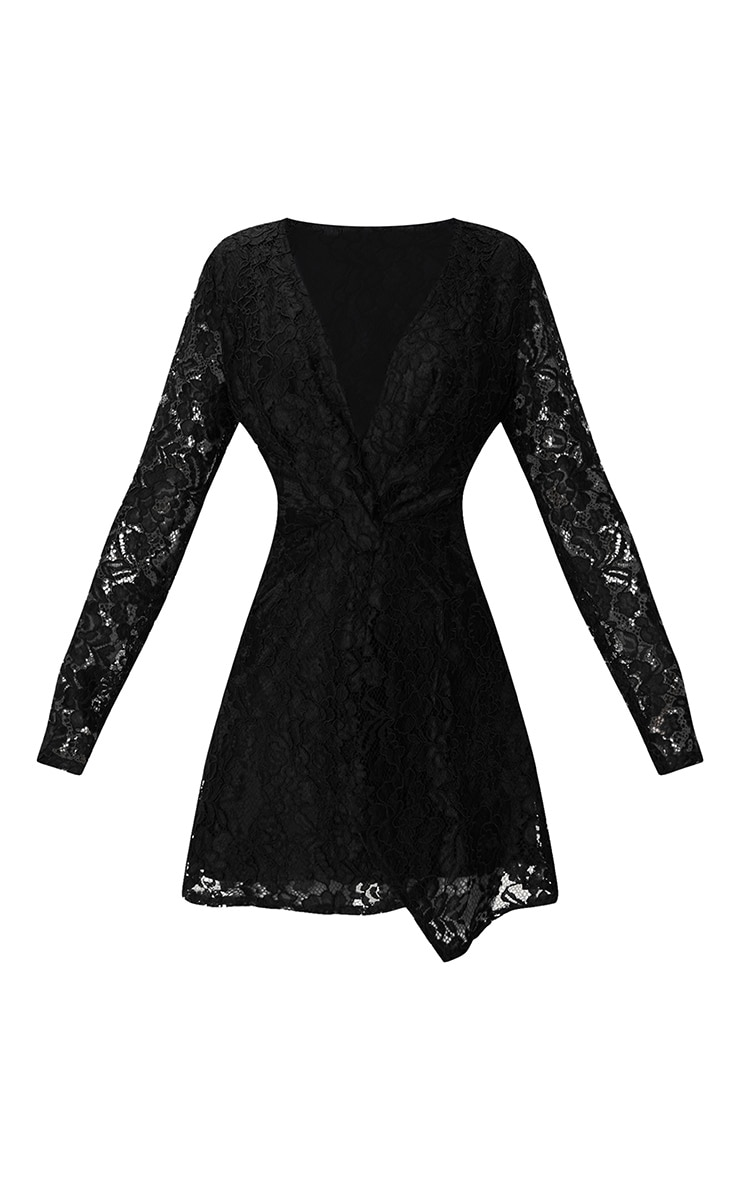 Black Plunge Long Sleeve Lace Bodycon Dress 3