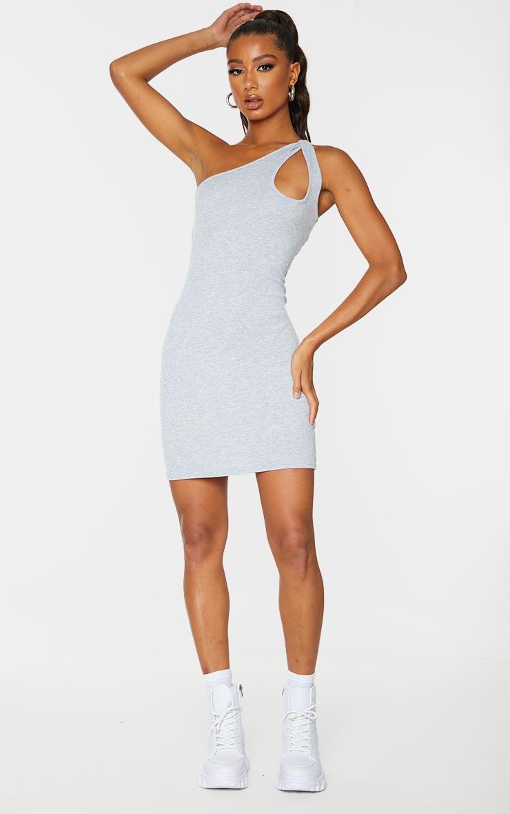 Grey Rib Knot Detail One Shoulder Bodycon Dress 3