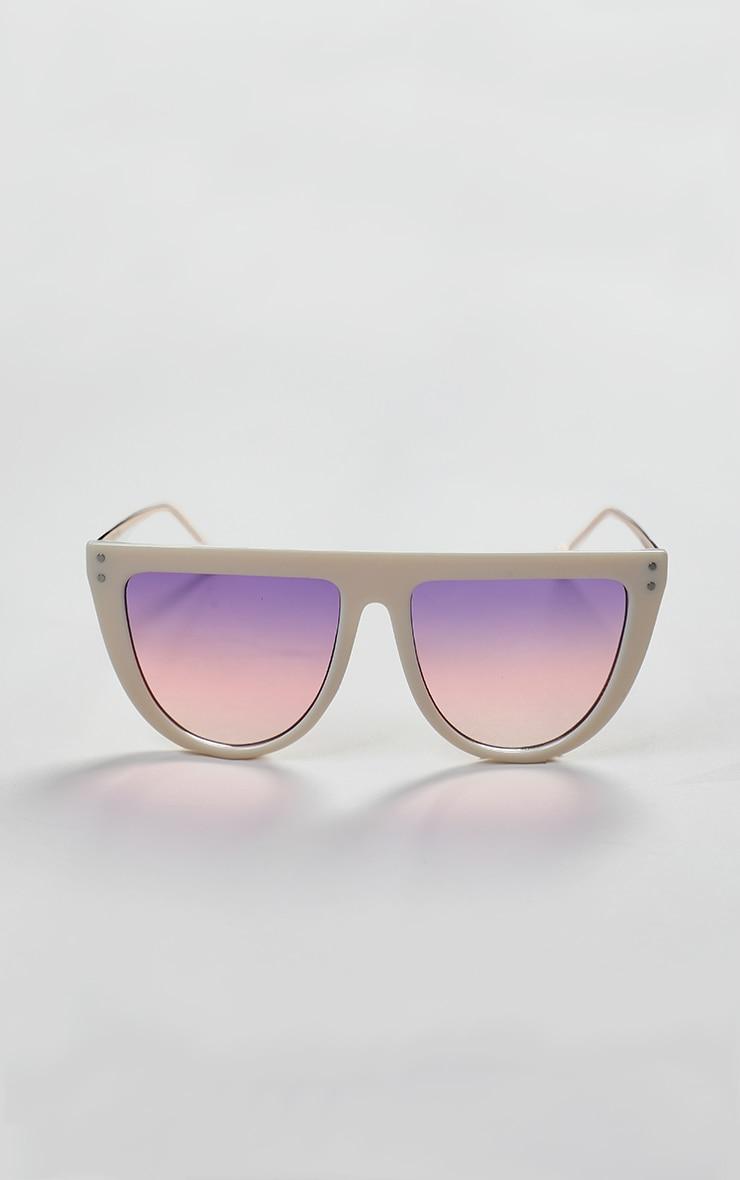 Pink Flat Bar Round Edge Sunglasses 1