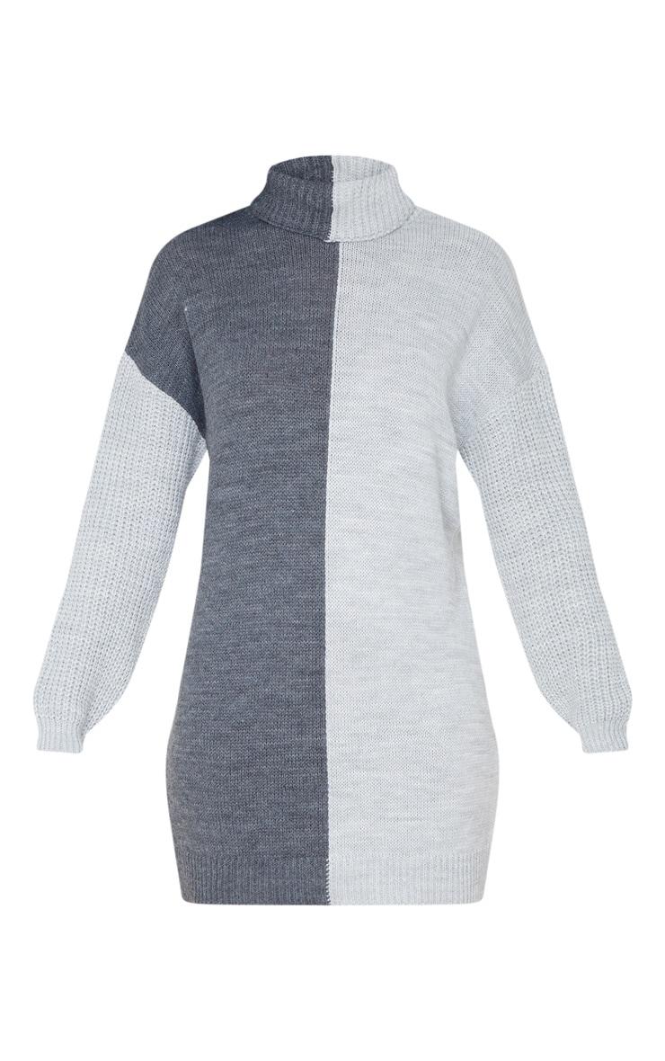 Grey Colour Block Roll Neck Sweater Dress 3