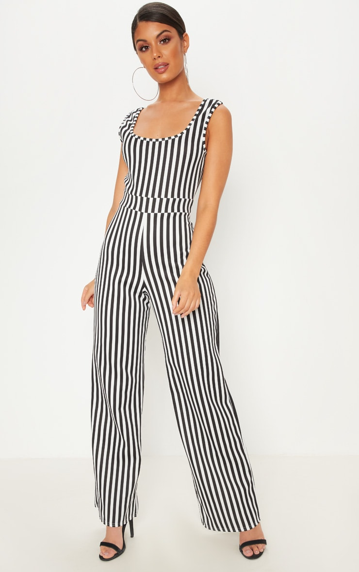 Monochrome Stripe Jumpsuit