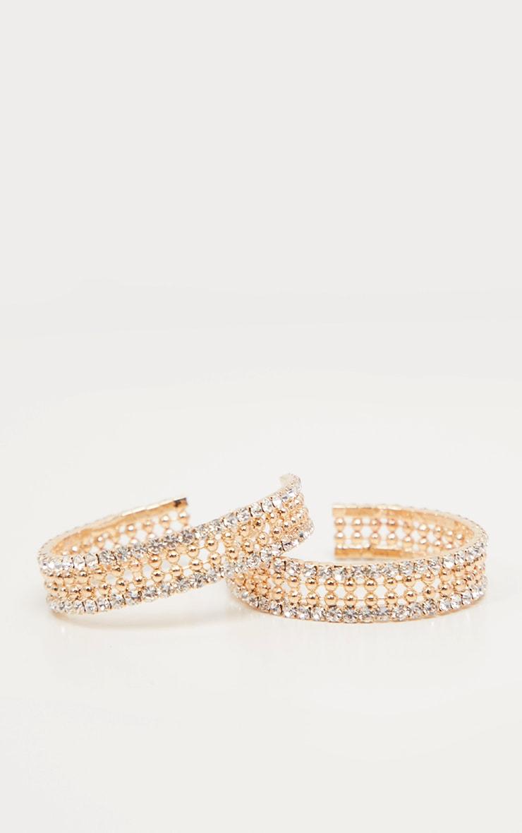 Gold Diamante Edged Hoop Earrings      3