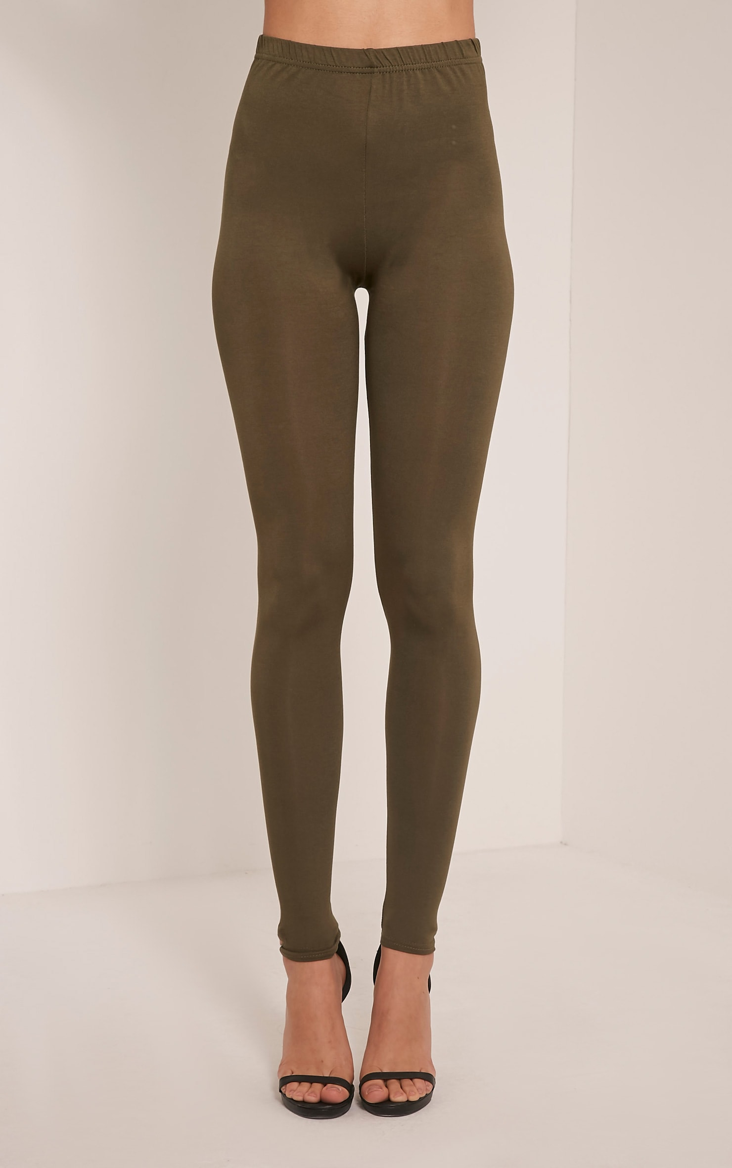 Basic Khaki Jersey Leggings 2