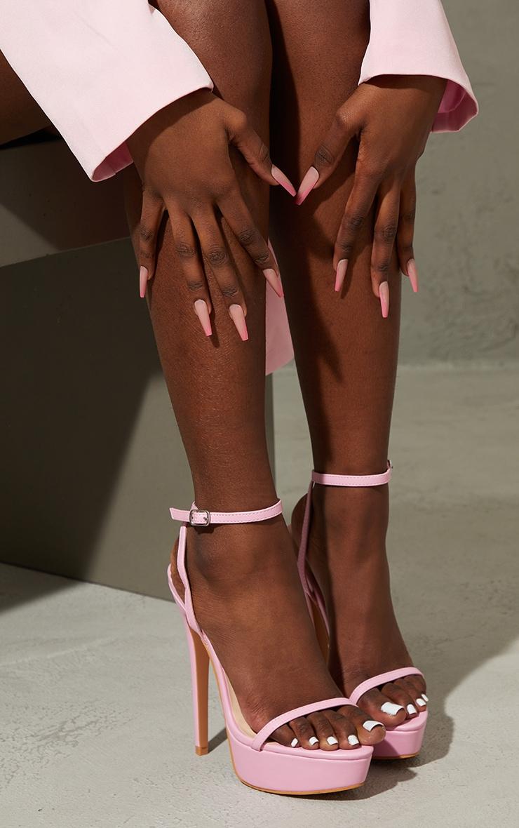 Pink PU Platform Strappy High Heels 2