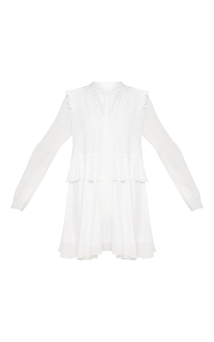 White Tie Neck Tiered Shift Dress 3