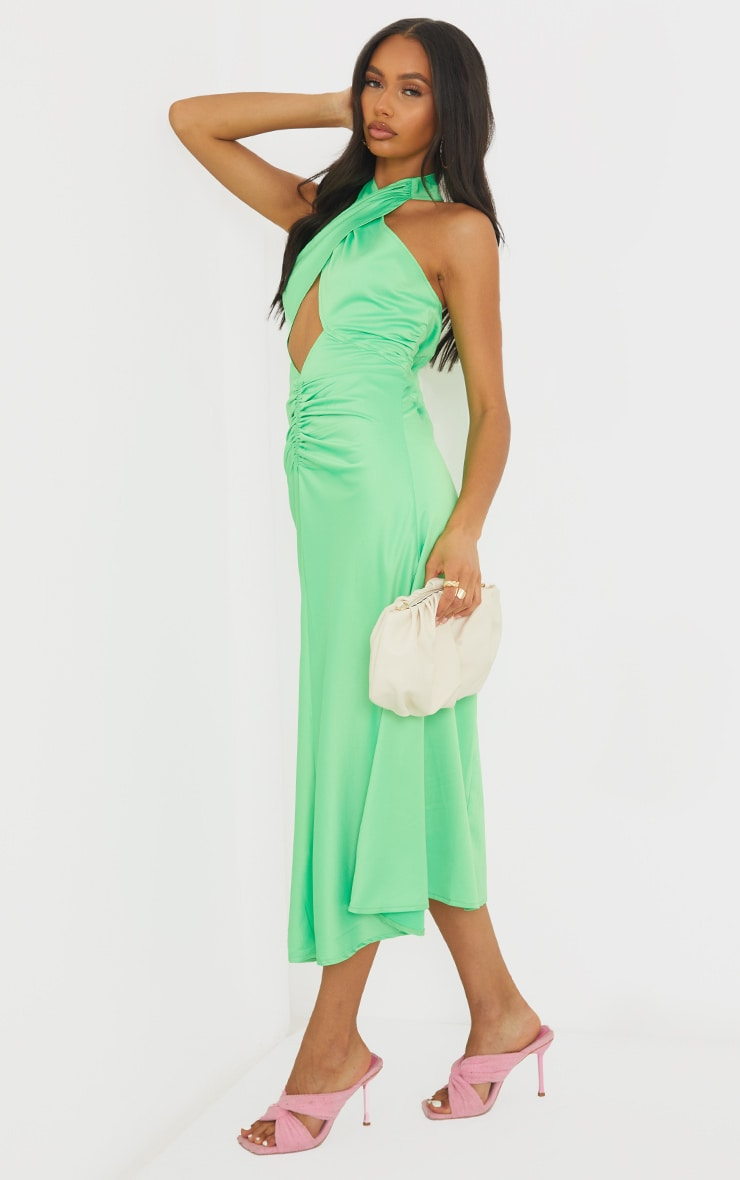 Lime Satin Halterneck Ruched Cut Out Midi Dress 3