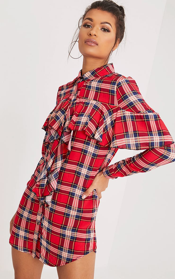 Ritah Red Checked Shirt Dress 1