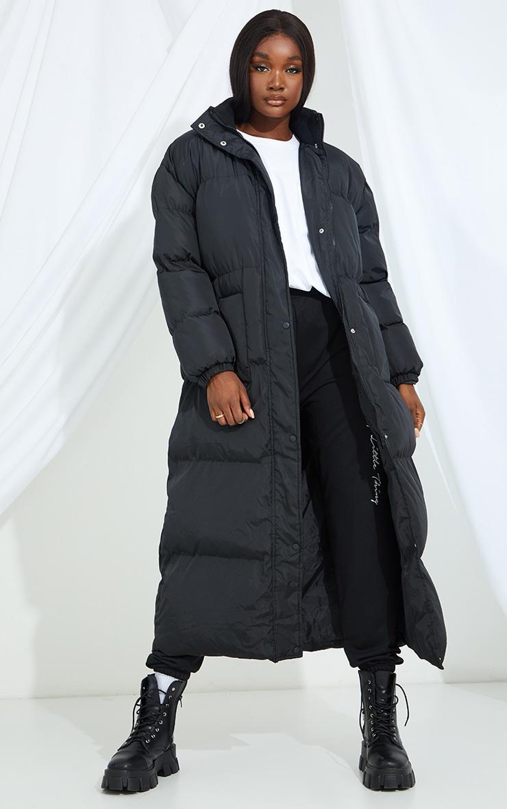 Tall Black Maxi Puffer Coat 1