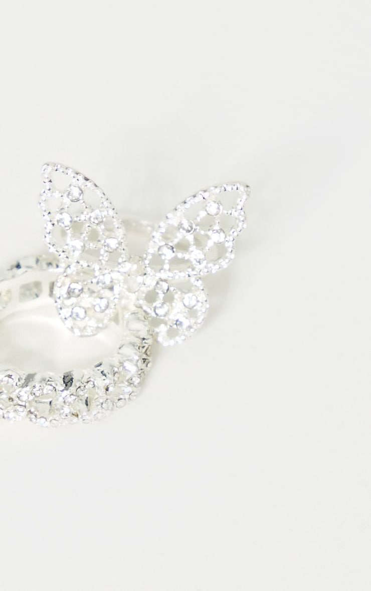 Silver Diamante Butterfly Ring 3