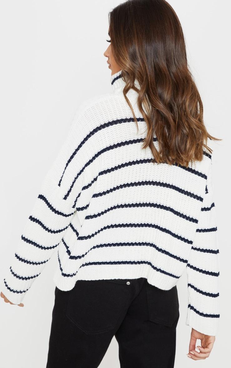 Cream Stripe Detail High Neck Sweater 2