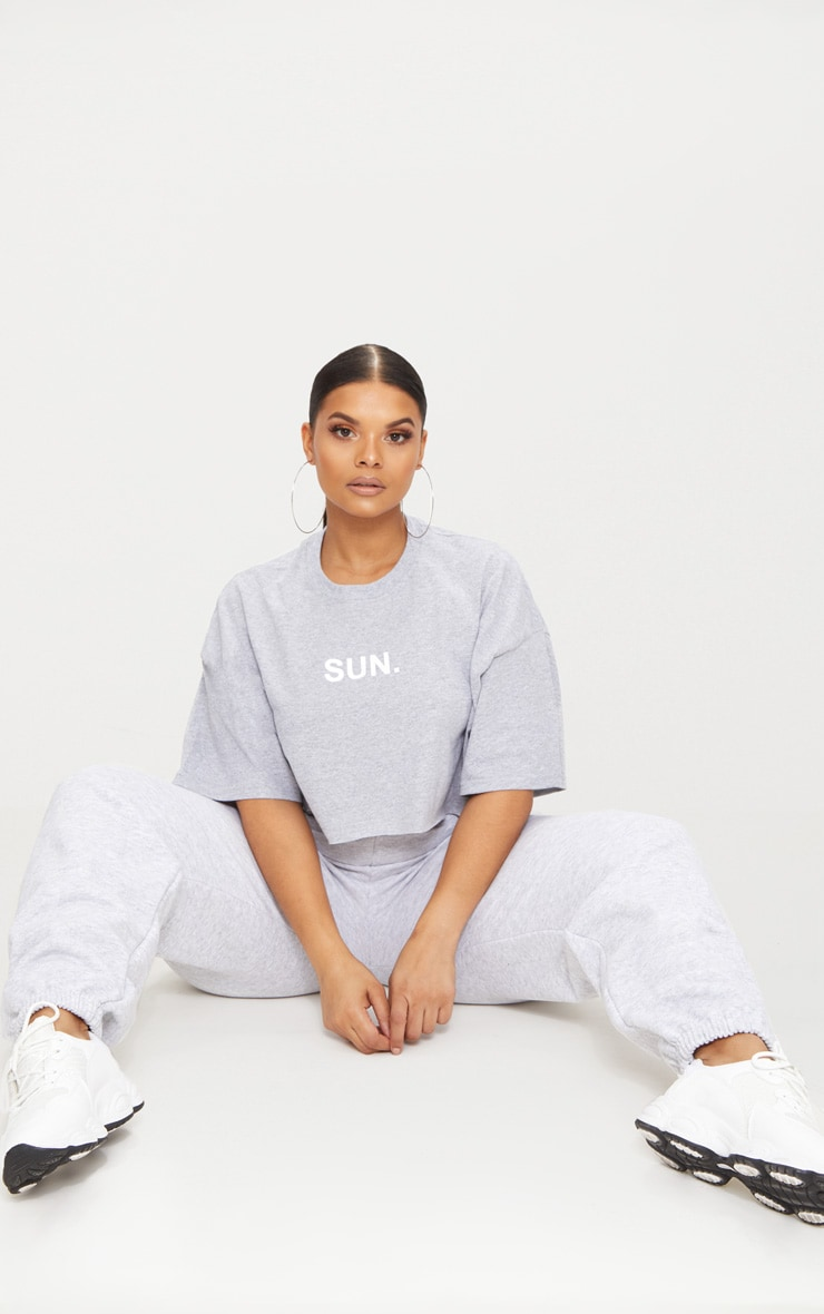 Plus Grey SUN Slogan Cropped T Shirt 4