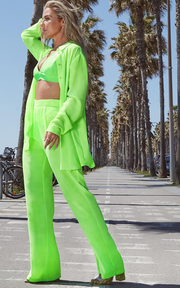 Petite Neon Green Oversized Beach Shirt 4