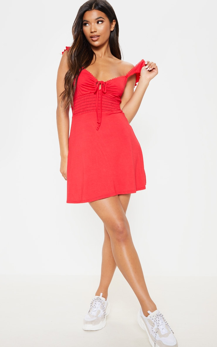 Red Trim Detail Tie Front Shirred Tea Dress 4