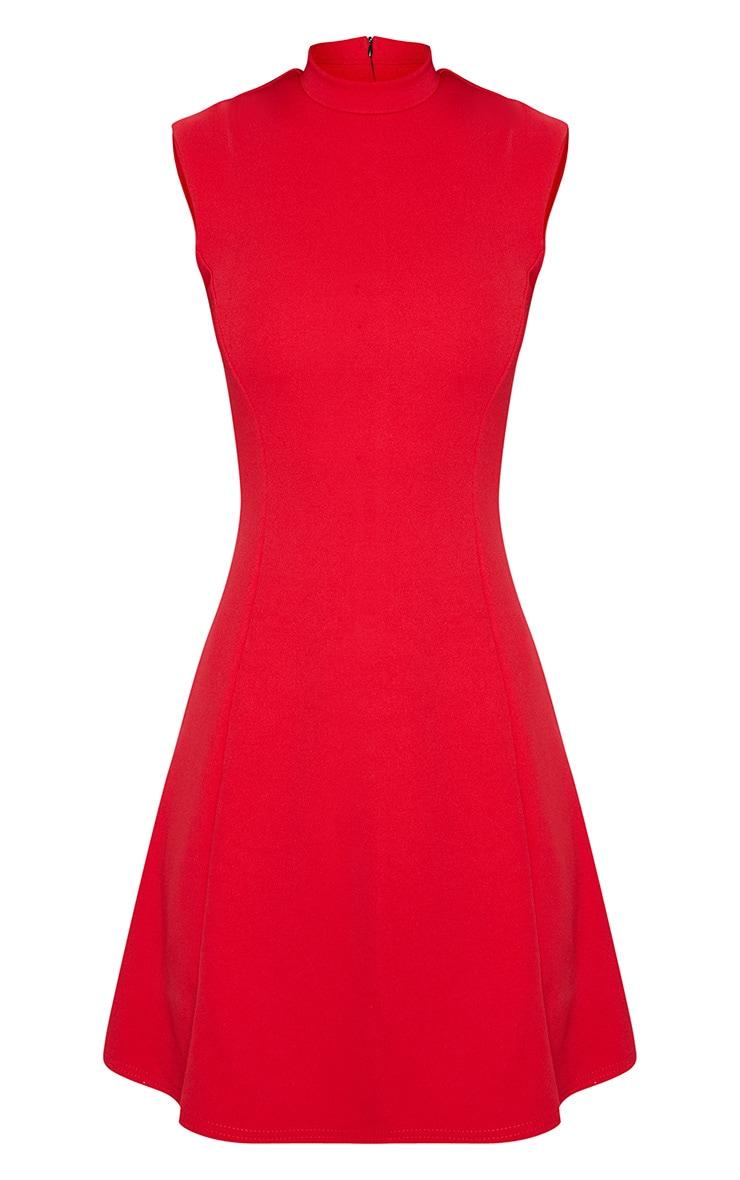 Red High Neck Shoulder Pad Detail Skater Dress 3