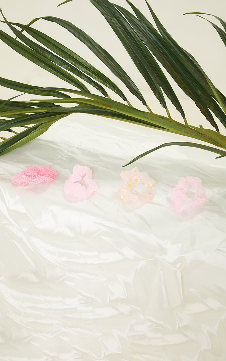 Pink Four Pack Printed Scrunchies 2