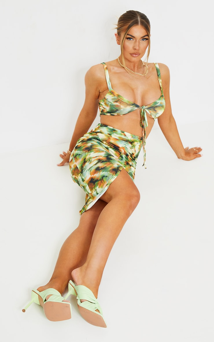 Green Tie Dye Print Slinky Tie Bust Ruched Bodycon Dress 1