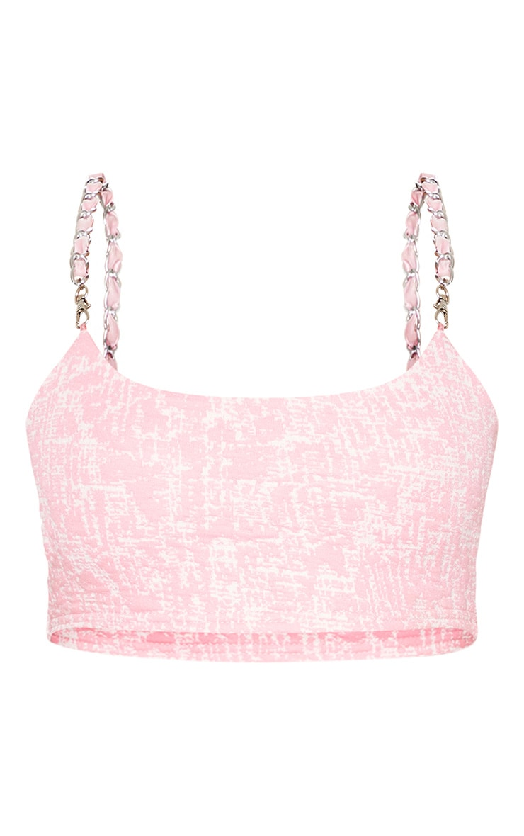 Pastel Pink Boucle Chain Strap Crop Top 3