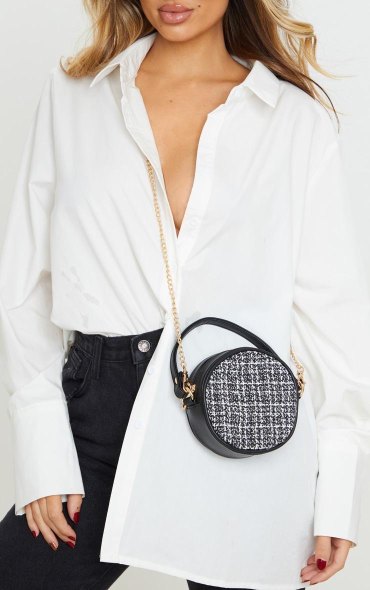 monochrome tweed circle pu cross body bag