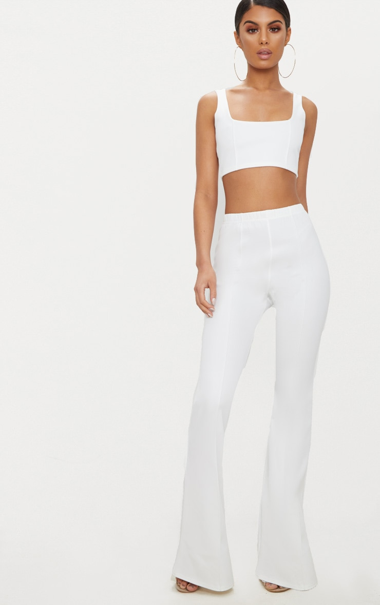 Cream High Waist Extreme Flare Long Leg Trousers