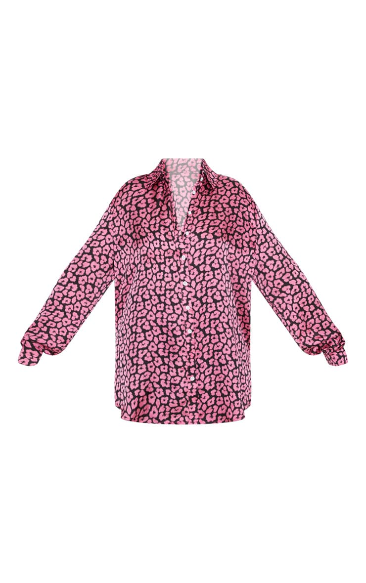 Plus Bright Pink Leopard Print Oversized Shirt   3
