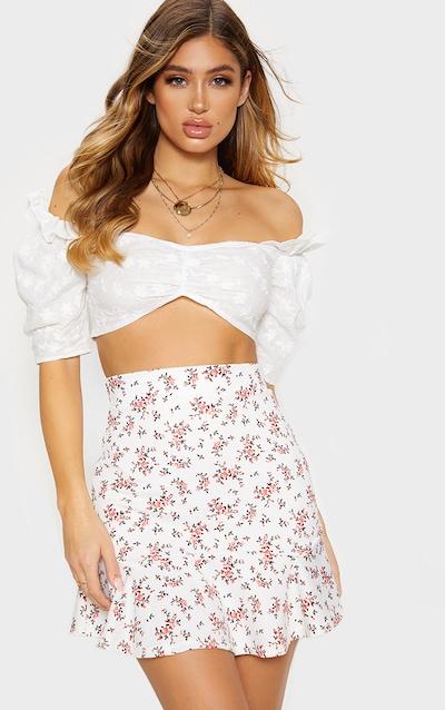 White Ditsy Floral Flippy Hem Mini Skirt