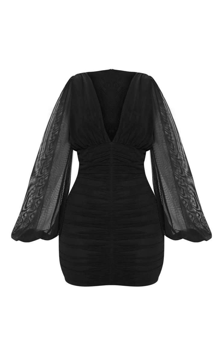 Black Mesh Ruched Balloon Sleeve Bodycon Dress 3