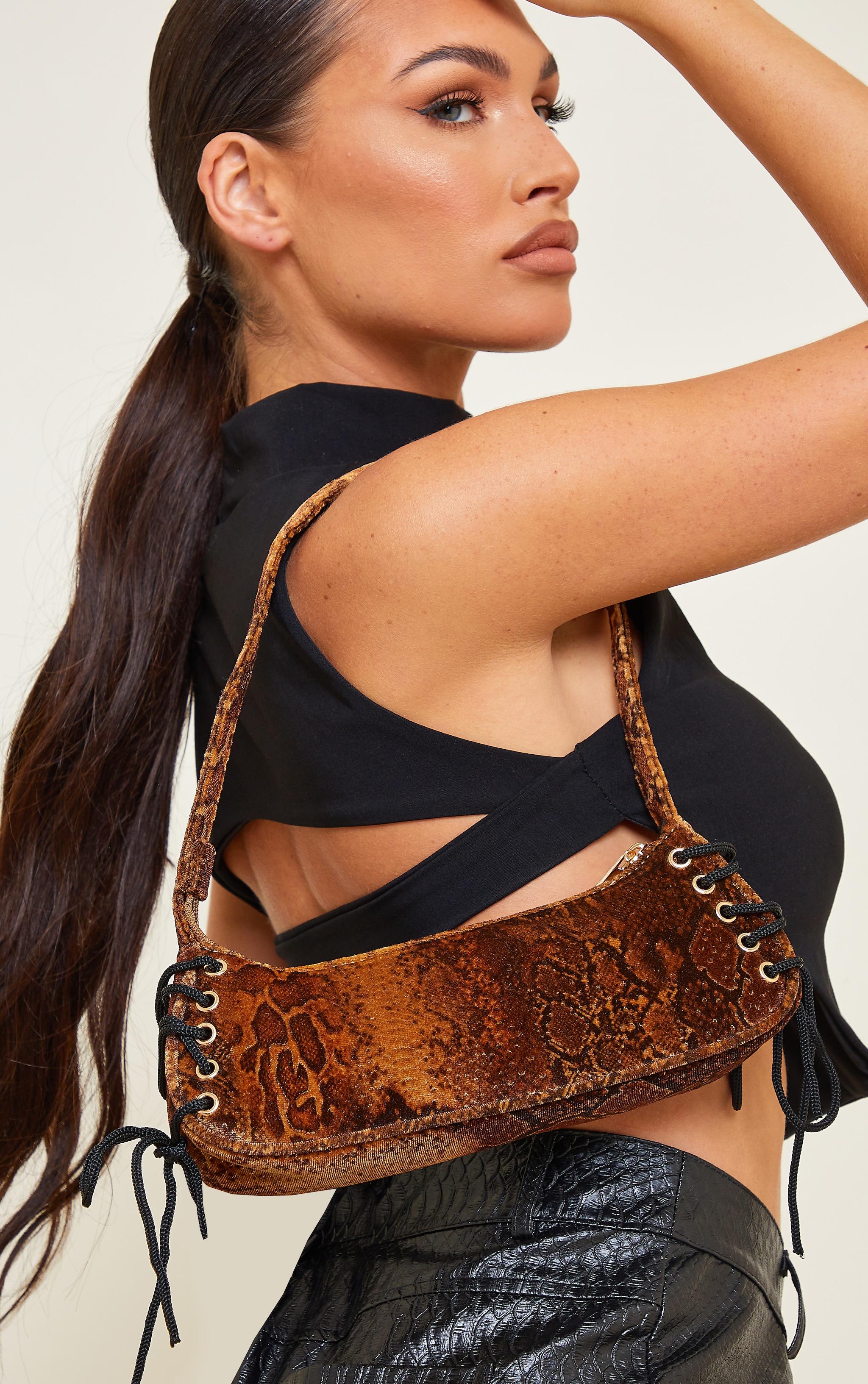 Gold Velvet Snake Lace Up Shoulder Bag 1