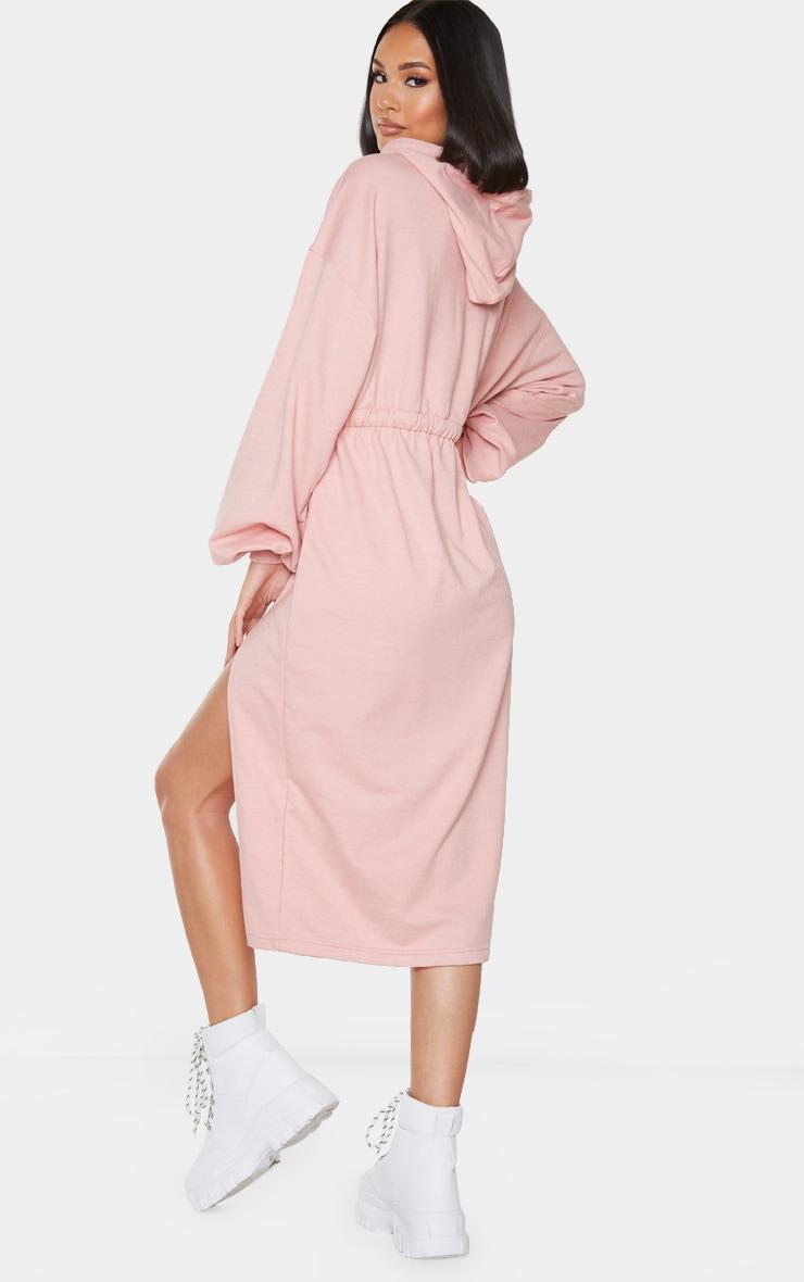 Blush Sweat Hoodie Split Midi Dress 2