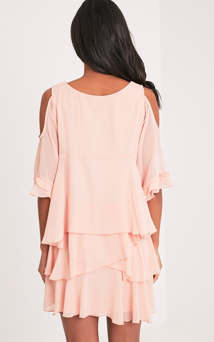 Tessa Blush Cold Shoulder Ruffle Swing Dress 2