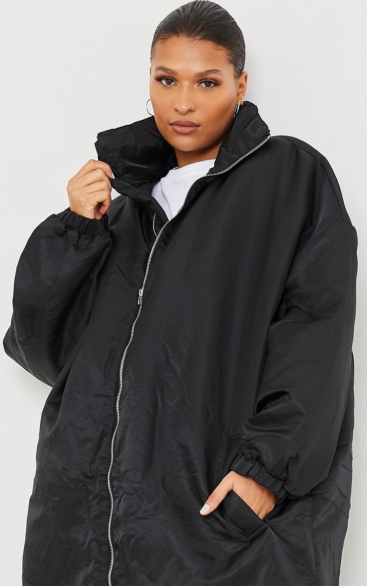 Black Nylon Drop Arm Maxi Puffer Jacket 4