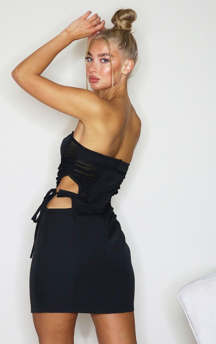 Black Bandeau Binded Corset Cut Out Bodycon Dress 2