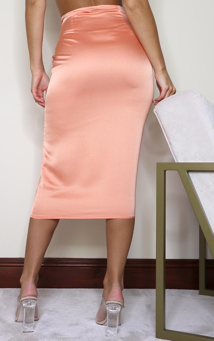 Peach Satin Tie Front Midaxi Dip Hem Skirt 3