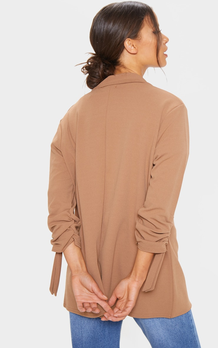 Camel Ruched Sleeve Blazer 2