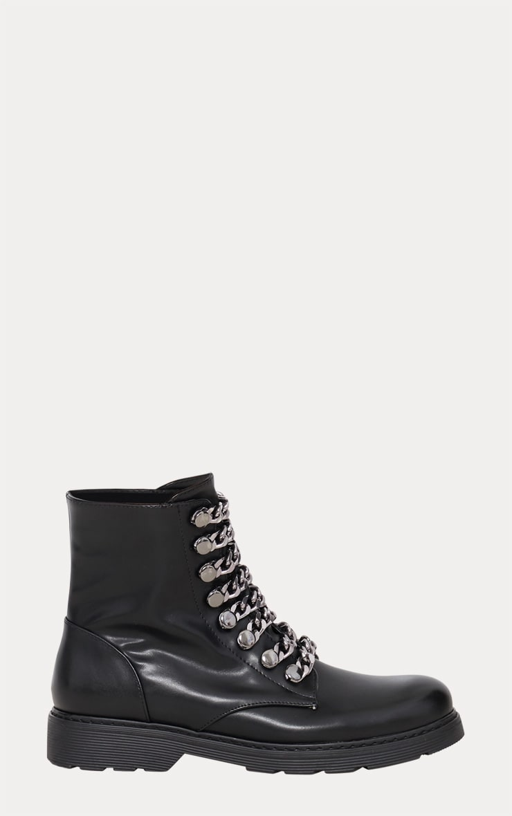 Black Chain Detail Biker Boot 4
