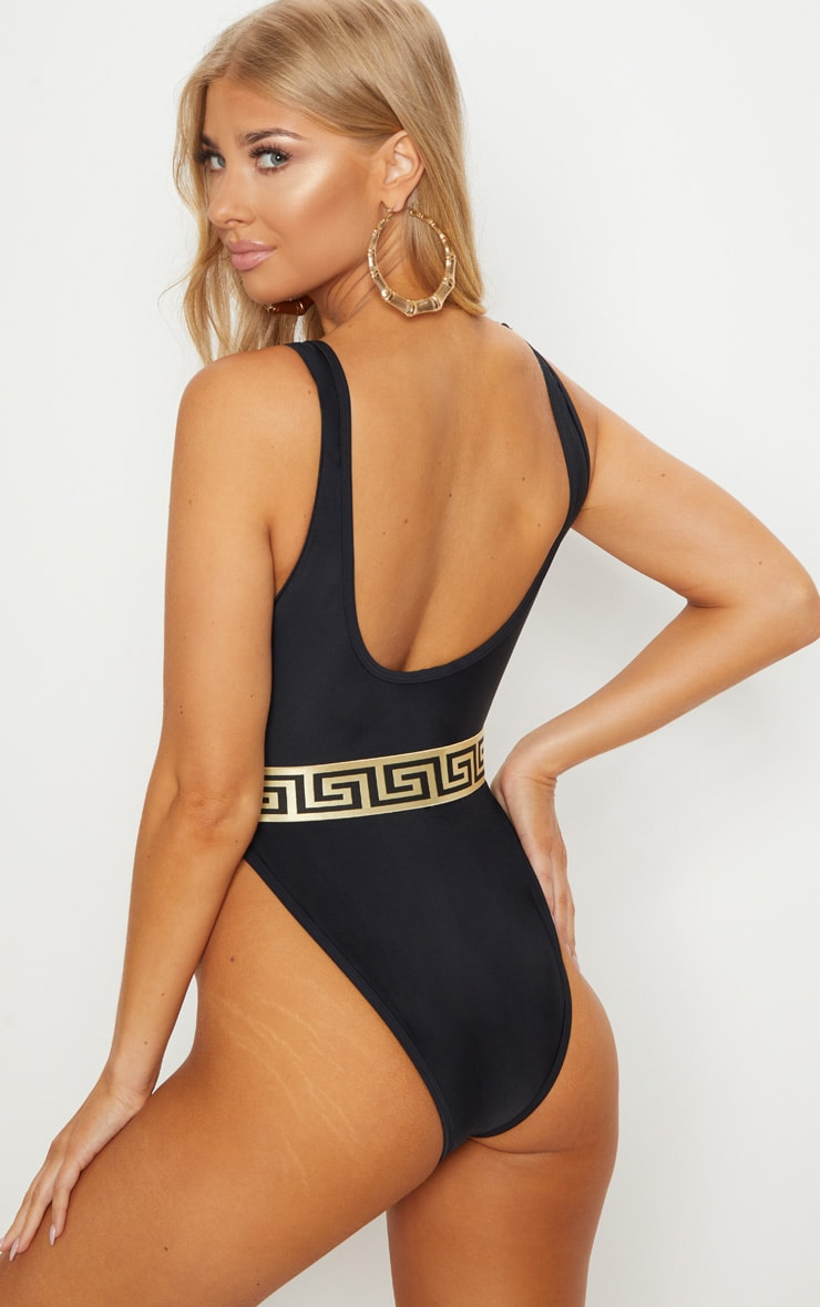 Black Greek Key Belted Plunge Swimsuit 2